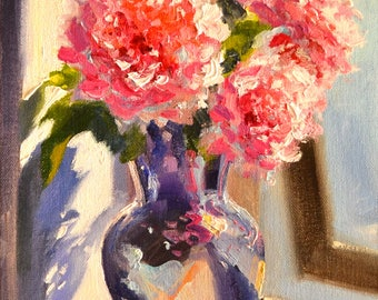 Original Oil Painting, VOORSTOEP ROSE, still life of roses, mason jar, gift for mom, gift for her