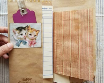 Meow Theme Traveler's Notebook Junk Journal / Midori Traveler's Notebook Junk Journal insert / furry / kitty / furbaby journal cat
