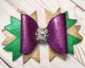 Glitter Mardi Gras Boutique Hair bow- Faux Leather Bow