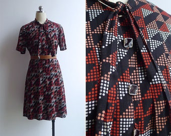 10-25% OFF Code In Shop - Vintage 80's 'Disco Dots' Black Cotton Dress with Bow Tie Collar S or M