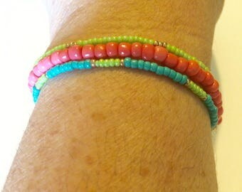 Seed Bead Stretch Bracelet Set of 3-- Pink/Turquois/Lime Green
