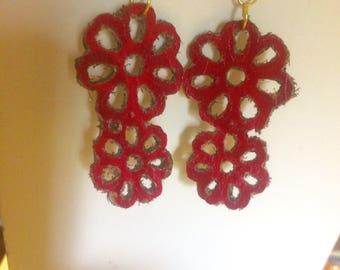Red Genuine Leather flower dangle earrings
