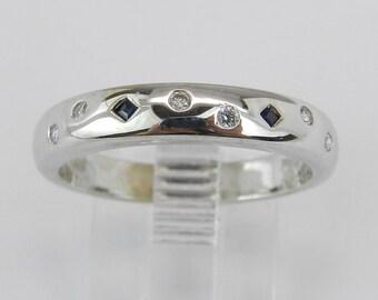 Sapphire and Diamond Wedding Ring Anniversary Band 14K White Gold Size 6.75