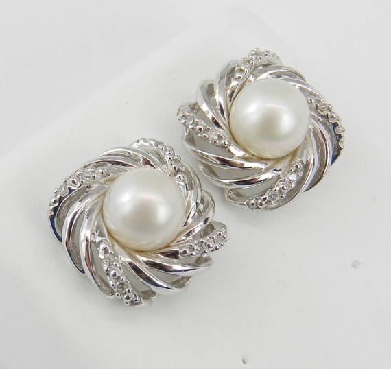 Pearl and Diamond Halo Stud Earrings 14K White Gold June Birthday Wedding Studs