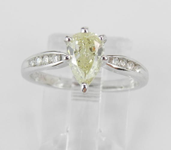 14K White Gold 1.12 ct Light Fancy Yellow Pear Diamond Engagement Ring Size 5.25