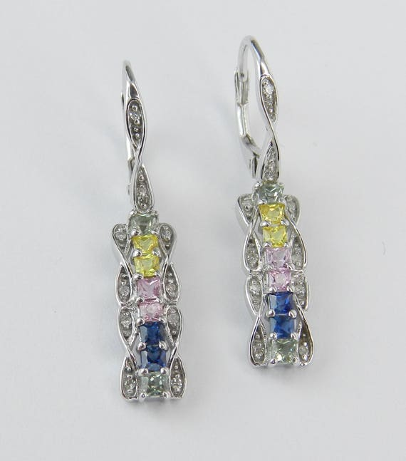 Diamond and Multi Color Sapphire Dangle Drop Earrings White Gold Rainbow