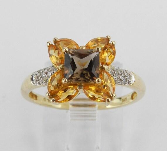 Princess Cut Smokey Topaz Citrine Diamond Flower Ring Yellow Gold Size 7
