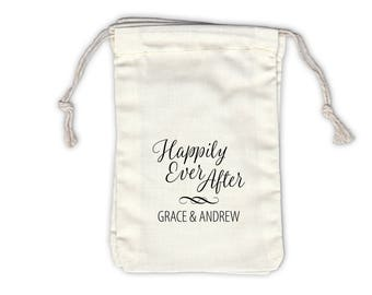 Happily Ever After Script Personalized Cotton Bags for Wedding Favors in Black - Ivory Fabric Drawstring Bags - Set of 12 (1045)