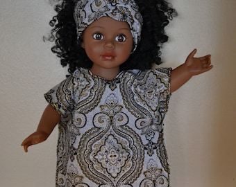 Grey and gold kaftan and head wrap for 18 inch doll