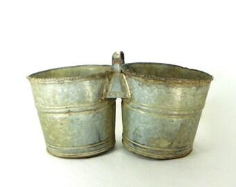 Galvanized Double Bucket, Farmhouse Decor, Vintage Barn Find