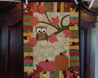 Owl Fall Quilt, Little Quilt, Pumpkins 0730-08