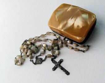 Prayer Warrior Rosary,Sterling Silver Rosary,Mother of Pearl Rosary,Vintage Rosary, Rosary,Rosary Case,Rosary Box,Roman Catholic,Hail Mary