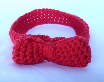Handmade Knitted Headband - Red