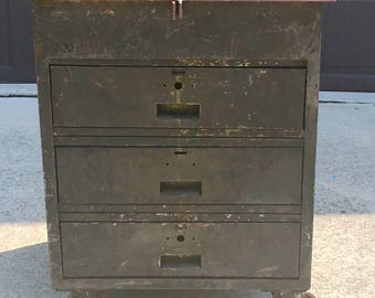 Vintage Industrial Machinist Cabinet Tool Chest on Wheels, Workbench, Kitchen Island