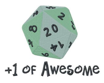 D20 Embroidered on Hand Towel or Tea Towel