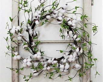 WREATH SALE READY To Ship -  Window Wreath - Spring Farmhouse Wreath - Cotton Wreath - Cotton Boll Wreath - Summer Wreaths - Home Decor - Fr