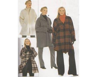 Womens Jacket Burda 8267 Size 16/18 to 58/60 Loose Fitting Sporty Jacket Coat with Kimono Sleeves Uncut Sewing Pattern Plus Size Full Figure