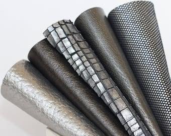 5pcs  Scrap Leather Pieces , Mixed Metallic Gray Silver Colors