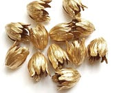 Large Tulip Beads, 12 Piece, Brass Flowers, Drilled Flowers, Rich Gold Plate, US made, Jewelry Making, Bsue Boutiques, 21mm, Item03538