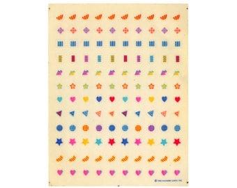 Vintage 80's HALLMARK Stickers Sheet ~ BRIGHT GEOMETRIC Minis Stars Hearts Arrows Memphis