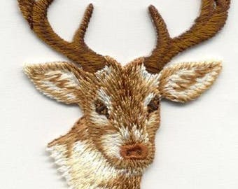 embroidered iron on applique-Deer head