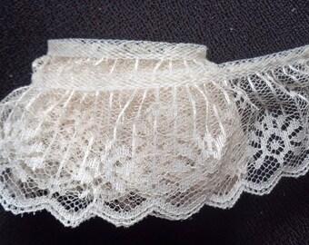 natural Ruffle Lace Trim 2 inch wide price per yard