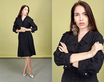 80s Black Gothic Dress Vintage Double Pointy Collar Pleated Dress