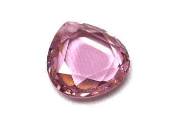 Cubic Zirconia Flat Pear Beads. Pink. Valentine. Sweet 16. Bridal. Teardrop Beads. Faceted CZ. 7mm x 18mm.