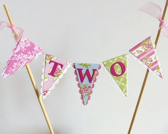 Tea Party Cake Bunting Topper for a Girls Second Birthday - Tea For Two - Pink, Green, Blue, Floral