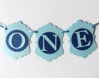 Boys First Birthday ONE Banner - High Chair Sign - Photo Prop - Pale Blue & Navy Blue