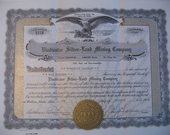 Vindicator Silver-Lead Mining Company 1964 Stock Certificate