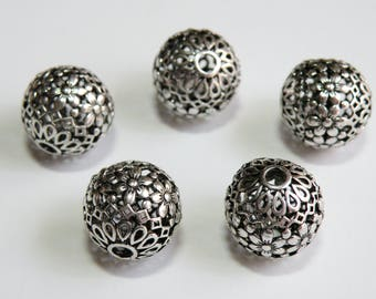 2 Intricate Floral Focal Beads filigree accents Bali style large hole antique silver 17mm DB30037