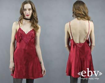 Crimson Nightie 90s Nightie Vintage Victoria's Secret Crimson Nightgown 90s Lingerie Vintage Lingerie Red Nightie Slip Dress Red Chemise S
