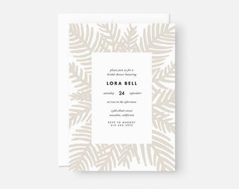 Palm Leaf Invitation / Modern Bridal Shower Invite / Boho Party Invitation / Neutral Taupe / Baby Shower, Engagement, Graduation