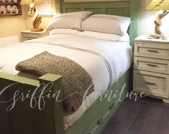 California King size Bed frame with storage drawers under the bed