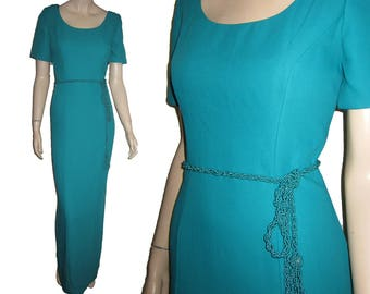 UNWORN 80s WATTERS & WATTERS Turquoise Prom Dress Bust 36 Brides Maid Gown - Union Made- Free Shipping