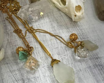 Petite Raw Crystal layering necklaces, gold charm necklace, gold crystal necklace, crystal choker, herkimer diamond necklace