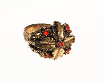 Gold Leaf Statement Ring with Orange Rhinestones, Adjustable, Designer Vintage Jewelry, 1960s Era