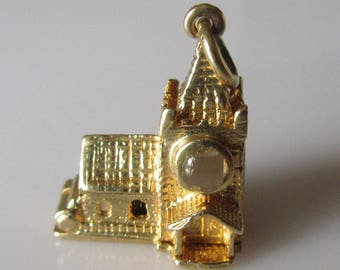 Gold Stanhope Church Charm with Marriage Vows and Wedding