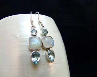 Blue Topaz and Moonstone Silver Drop Earrings