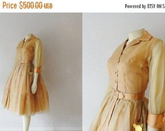 B-DAY SALE Vintage Dress 50s New Look Mad Men Gold & Peach Silk Chiffon and Satin Dress Deadstock Xs - S