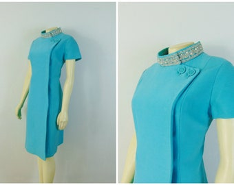 Vintage Dress 50s 60s Dress Turquoise Blue Mad Med Dress Cross Shoulder Button Down Embellished Neck Size Medium