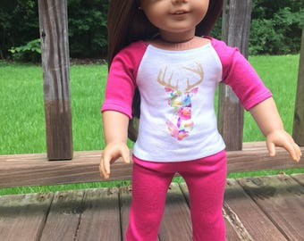 American Girl Doll inspired clothing/leggings/baseball tee/outifit/sleepwear/casual wear/t-shirt/18-inch doll clothes-floral deer antlers
