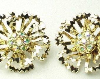 Vintage EARRINGS Aurora Borealis Rhinestone Flower 1950's Mid Century Hollywood Glamour Costume Jewelry Signed Sarah Coventry Gift For Her
