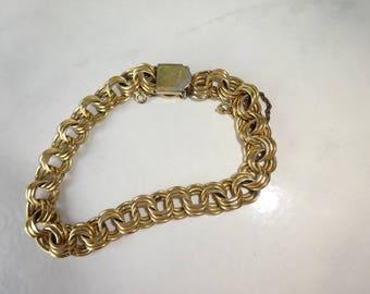 "Vintage Krementz Bracelet Gold Chain Link Chunky Bracelet 8"" Bracelet for Charms"