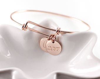 Personalized jewelry - Custom bangle - Rose gold bangle bracelet - Mothers bracelet - Hand stamped bracelet - Gift for mom - Charm bracelet