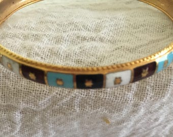 Pretty Vintage Enamel Cloisonne Bangle Bracelet