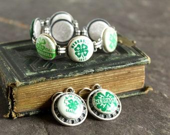 4 H club pins bracelet earring set Nebraska leader 1946 1947 1948 1949 1950 1951 1952 vintage  achievement green clover 4 leaf jewelry