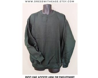 Patient, SWEATSHIRT, ARM ZIP,Treatment shirt, Dialysis, chemo treatment clothing, perineal cltohing, dialysis shirt, Open port, fleece