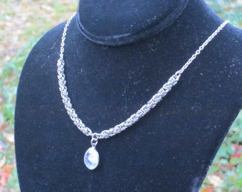 Stainless Steel Byzantine Necklace with Moonstone Pendant